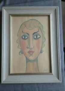 Interesting old art deco watercolour portrait painting pencil signed