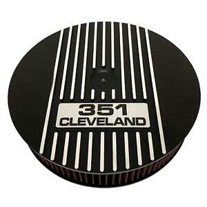 "Ford 351 Cleveland 13"" Round Air Cleaner Kit Black - Ansen USA"
