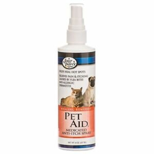 Four Paws Pet Aid Anti-Itch Medicated Pet Spray 8oz Dog Cat Pain Itch Hot spots