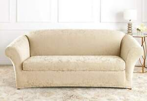 sure fit Stretch Jacquard Damask Two Piece SOFA OYSTER