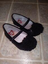 Stride Rite black sequin elastic strap dress flats shoes girls toddler size 4