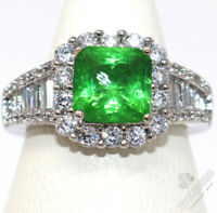 2 Ct Princess Green Emerald Ring Women Jewelry 14K White Gold Plated Free Ship