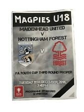 maidenhead united V Notts forest FA Youth Cup Programme