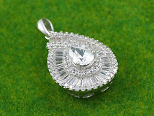 Sassi SP0834 925 Sterling Silver Pear Shaped Cubic Zirconia CZ Pendant & Chain