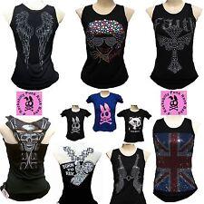 D'ROCKABILLY PUNK ROCK BABY Strass Tank Tops+ Designer Logo T-Shirt S/M/L/XL/XXL