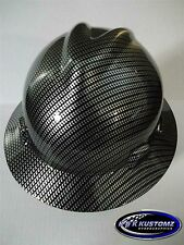 NEW Custom MSA V GARD Full Brim Hard Hat Black and Silver Carbon Fiber Pattern