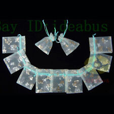 """Organza Pouches Jewelry Wedding Bags 100Pcs Babyblue w/Gold Butterfly 4.75""""x3.5"""""""