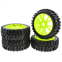 4PCS Green RC 1:8 Scale Double 6 Spoke Wheel Rims Rubber Tires Off Road Buggy