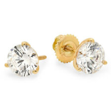 Solid 14k White Gold 1/4 Ct Round Cut Martini Solitaire Stud Earrings Screw Back