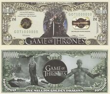 Game of Thrones Million Dollar Bill Play Funny Money Novelty Note +FREE SLEEVE