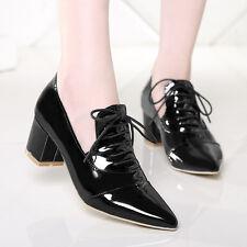 Retro Lady Women Lace Up Mid Block Heel Pointy Toe Punk Pumps Shoes Sz UK2-9 Hot