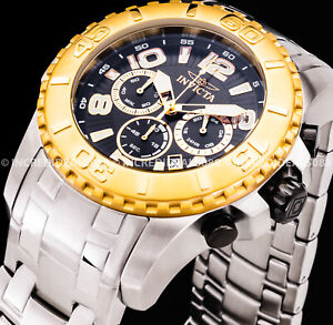 Invicta Men PRO DIVER SCUBA CHRONO Black Dial Bracelet 18Kt Gold Silver Watch