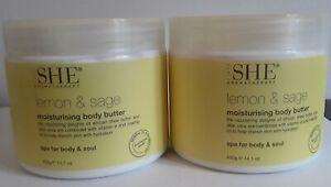 Pack of 2 Om She Aromatherapy LEMON & SAGE Body Butter - 14.1 oz each!