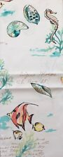 """Coastal Collection Fabric Shower Curtain""""Coral Reef Ombré""""-Seahorse,Fish"""