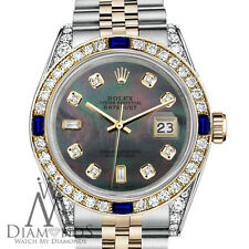 Women's Rolex 31mm Datejust Watch Black MOP 8+2 Dial with Sapphire & Diamond