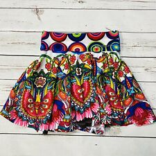 DESIGUAL Girls Pleated Skirt Size 7/8 Boho Hippie Butterfly Paisley Pink Blue