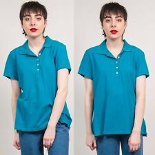 TOMMY HILFIGER POLO SHIRT T-SHIRT TURQUOISE BLUE  WOMENS SHORT SLEEVE CASUAL 16