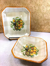 2 Himark Italy Peaches & Bucket Ceramic Serving Tray & Bowl Orange Green Yellow