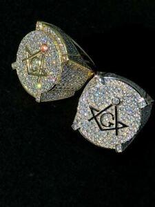 Men's Large Solid 925 Silver 3ct Iced Diamond Masonic Free Mason RING 14k Gold