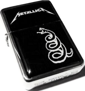 METALLICA Black Album Snake Smoking Cigarette Silver Petrol Lighter Metal Rock