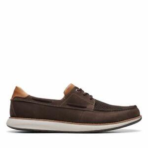 Clarks Mens Un Pilot Lace Brown Nubuck Leather Moccasin Boat Shoes, UK 8.5