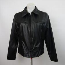 XHILARATION Women's Large Black Polyurethane Full Zip Jacket with Lining