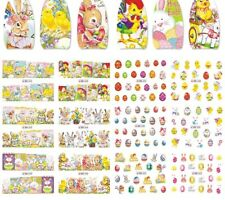 Easter Eggs Rabbits Flowers Nail Arts Stickers DIY Water Transfers Decal Tattoos