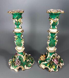 19th Century Porcelain Encrusted Candlesticks Possibly By Coalport AF 24cm EZX