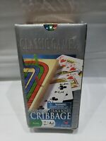 Solid Wood Cribbage Set Folding 3 Track Board with Playing Cards Cardinal Ind.