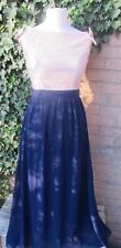 Little Mistress Vintage Dress Full Length/Blue With Cream Lace Size 12