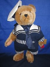 """Hermann Sailor Teddy Bear 15"""" Jointed with Working Growler Germany New Tag"""