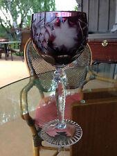 AJKA Crystal Cut to Clear Wine Hock Glass -  Marsala Amethist  -