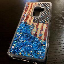 SAMSUNG GALAXY S9+ PLUS - TPU Case Flowing Liquid Blue Glitter USA American Flag