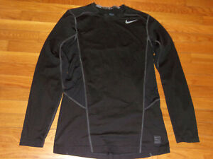 NIKE PRO DRI-FIT LONG SLEEVE BLACK FITTED JERSEY MENS MEDIUM EXCELLENT