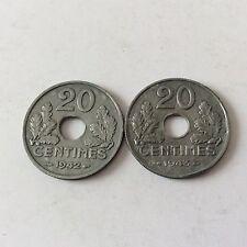 2 pièces de 20 cent. Etat Français lourdes En Zinc 1942/1943 TTB SUP