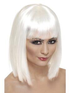 White Glamour Wig Ladies Short Bob Fancy Dress Costume Accessory