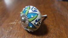 Hand-made Hand-painted Ceramic Drawer Knob - White blue green flower - S26
