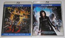 Horror Blu-ray 3D Lot - Resident Evil Afterlife 3D (used) Underworld Awakening