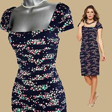MONSOON Navy Versailles Print Horizontal Pleated Jersey Dress UK 12  EU 40  £119