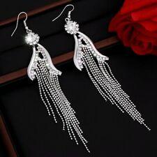 Silver Plated Crystal Rhinestone Long Tassel Drop Dangle Hook Earrings
