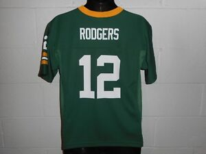 NFL Team Apparel Aaron Rodger #12 Green Bay Packers Jersey Youth Large
