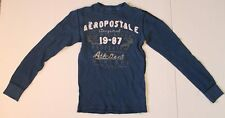 Mens AEROPOSTALE Blue Thermal Shirt SIZE XS Extra Small Long Sleeve 1987