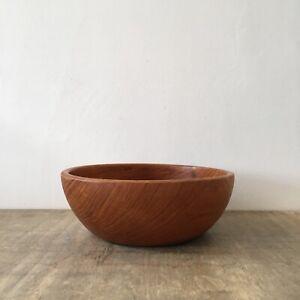 Vintage Wooden Fruit Bowl Large Round Circular Dish Decorative Boho