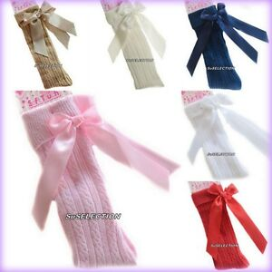 BABY GIRLS BOW RIBBON SOCKS 0/24 MONTHS-2/6 Y'RS-WHITE/CREAM/RED/NAVY/BEIGE/PINK