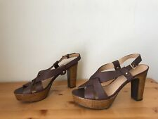 Barney's New York brown leather cork platform sandals shoes sz 10/ 40