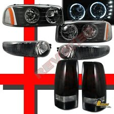 02 03 GMC Sierra Denali Black Halo LED Headlights Bumper + Dark Red Tail lights