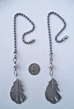 SILVER FEATHER FAN/LIGHT PULL PAIR ~ HANDMADE BEAUTIES!