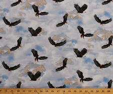 Eagle Pass Bald Eagles Mountains Sky Birds Cotton Fabric Print by Yard D570.71