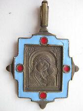 Russian brass enamel  pendant icon Mother of God of Kazan