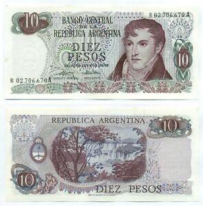 ARGENTINA NOTE 10 PESOS (1975/6) MONDELLI-CAIROLI B# 2358 REPLACEMENT P 295 AU